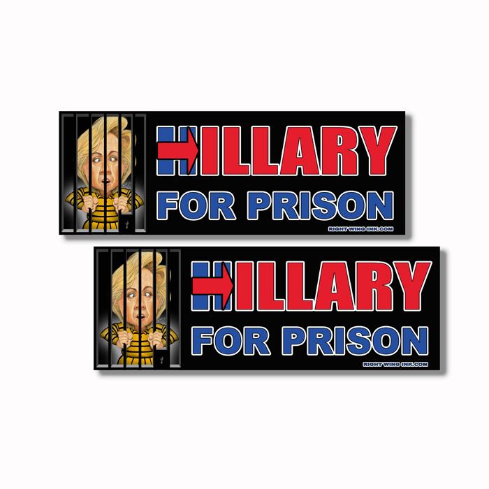 Hillary For Prison Caricature Sticker