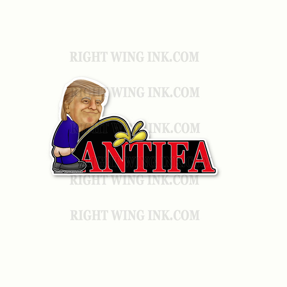Trump Peeing on Antifa Stickers 2 Pack